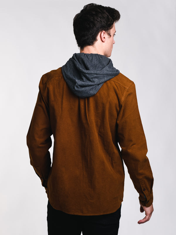 MENS MOLESKIN HOODED BUTTONUP