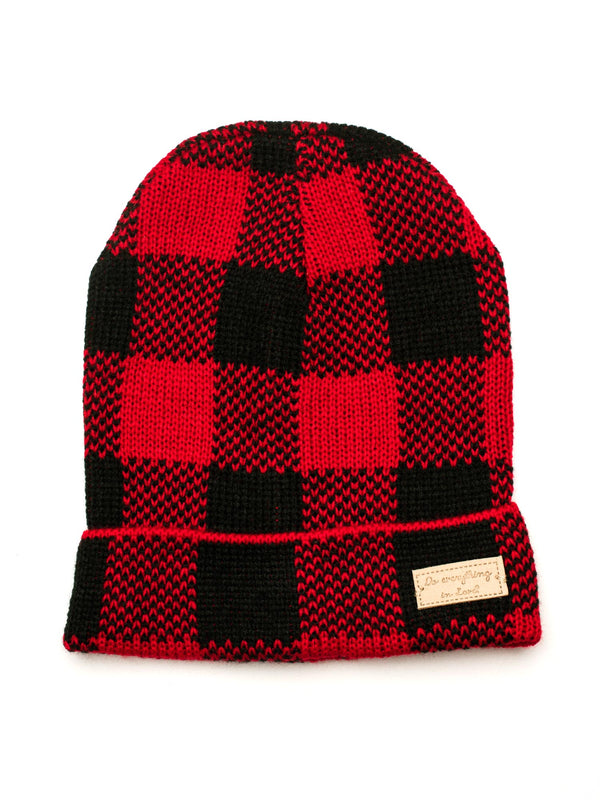 BUFFALO PLAID RIB BEANIE - RED
