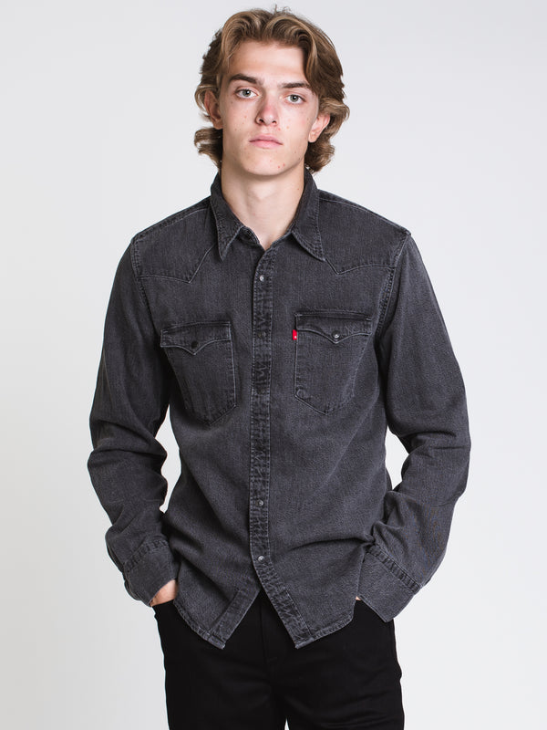 MENS BARSTOW WESTERN SHIRT - BLACK