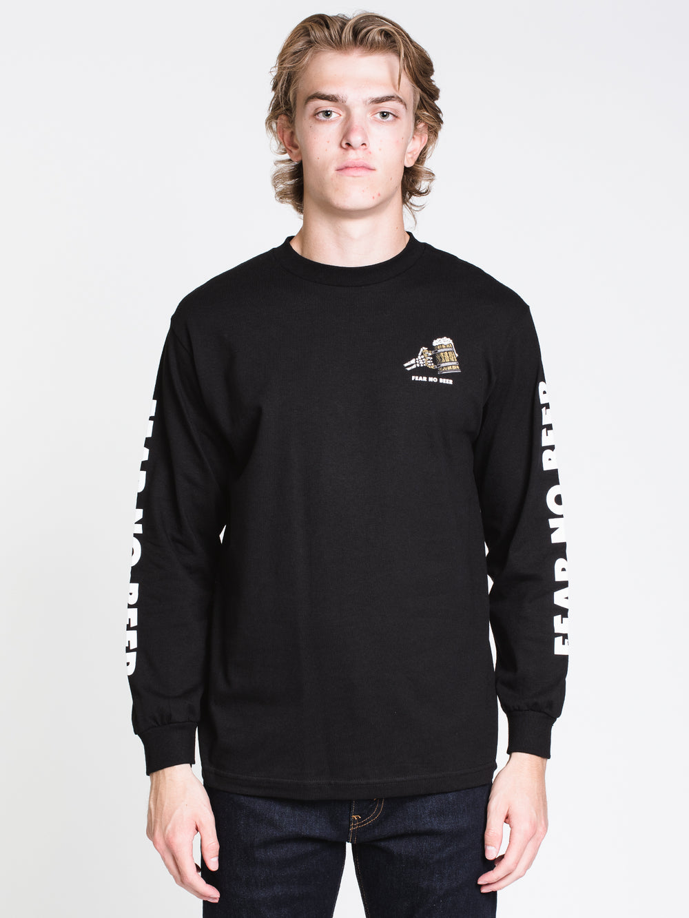 MENS FEAR LONG SLEEVE T-SHIRT - BLACK