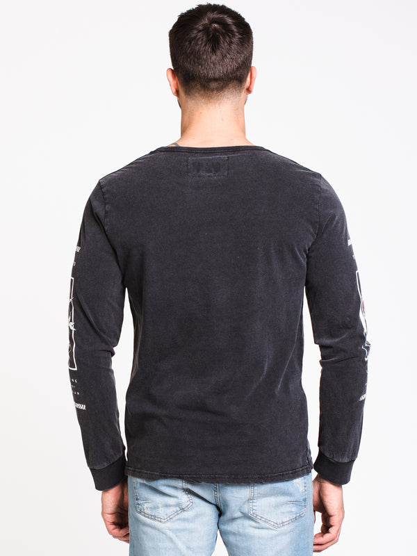 MENS PARADISE LONG SLEEVE T-SHIRT - ACID BLACK