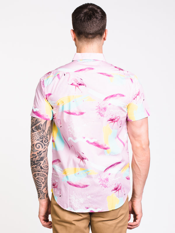 MENS FLAMINGO SHORT SLEEVE Woven - PINK