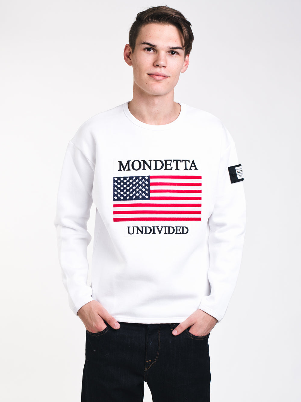 MENS MONDETTA USA CREW - WHITE - CLEARANCE