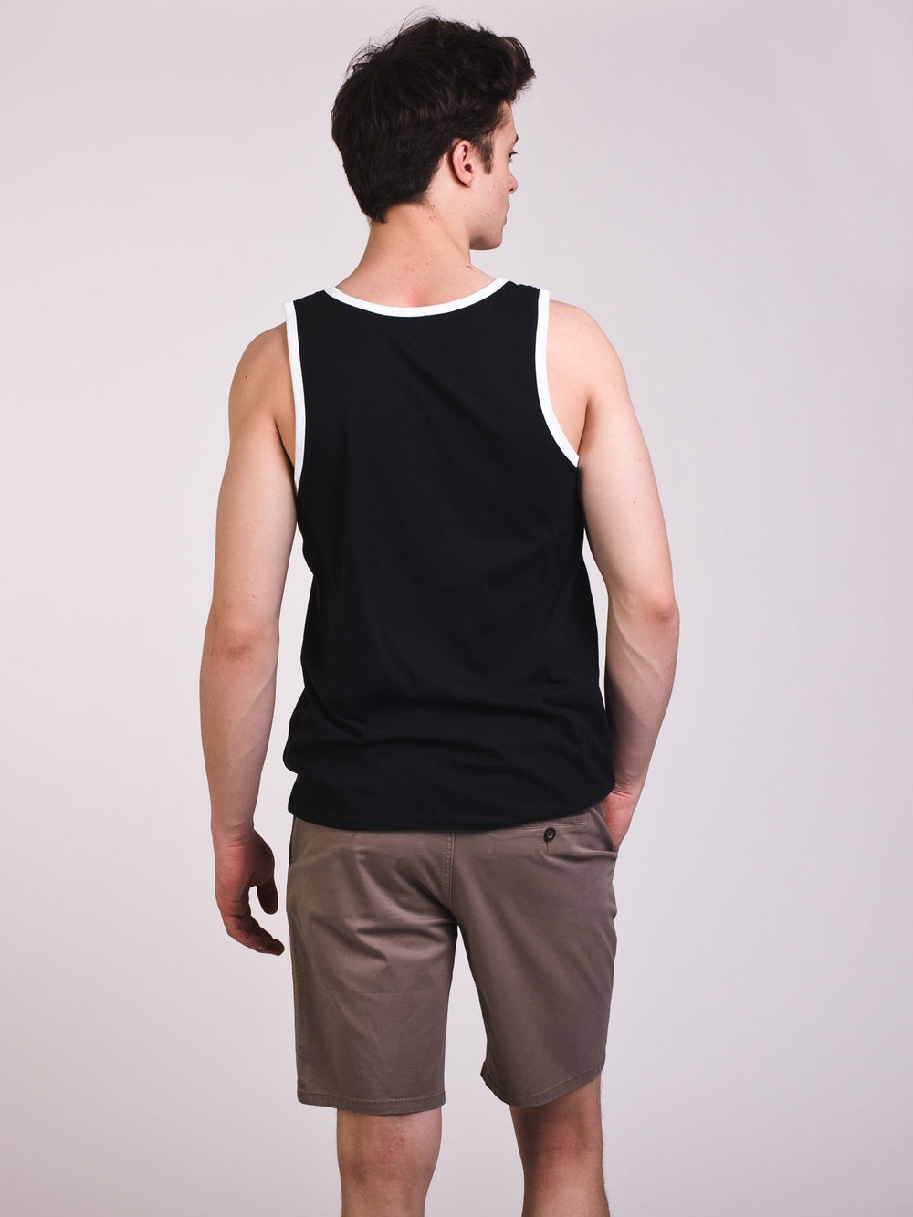 MENS SB TANK RINGER - BLACK/WHITE- CLEARANCE