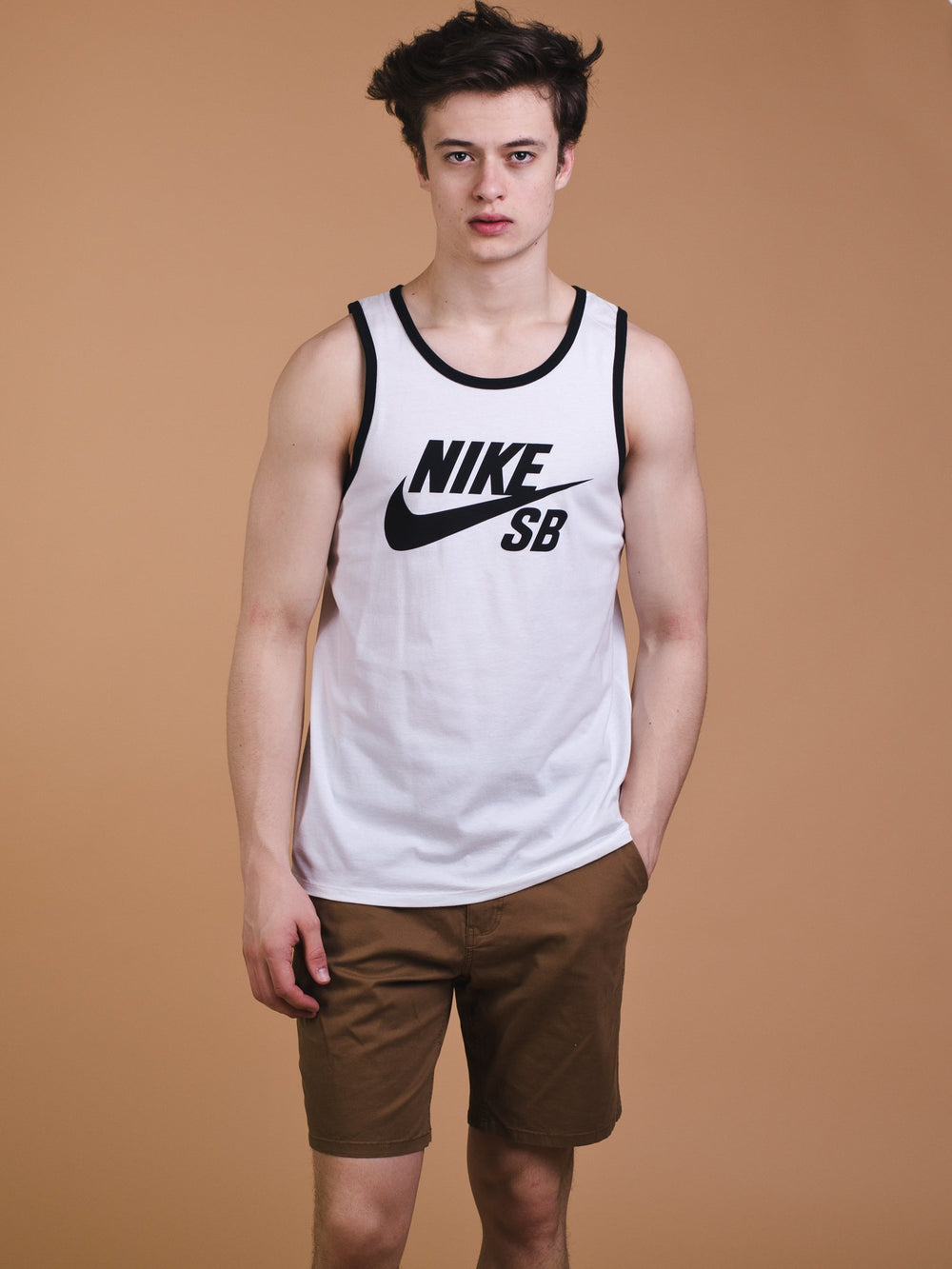 MENS SB TANK RINGER - WHITE/BLACK- CLEARANCE