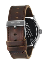 MENS SENTRY LEATHER - SILVER/BROWN WATCH