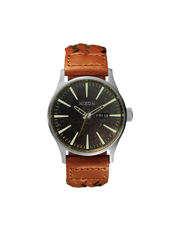 MENS SENTRY LTHR - DK COP/SAD WATCH- CLEARANCE