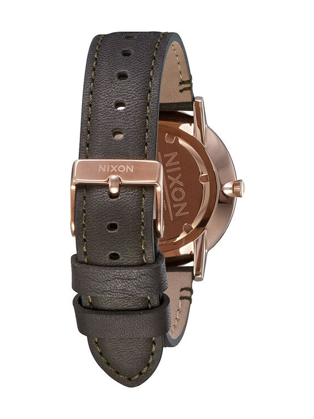 MENS PORTER LEATHER - ROSE GOLD/GUN WATCH