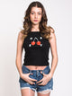 WOMENS OBEY CHERRIES TANK - BLACK