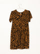 WOMENS IGGY SHORT SLEEVE DRESS - BROWN