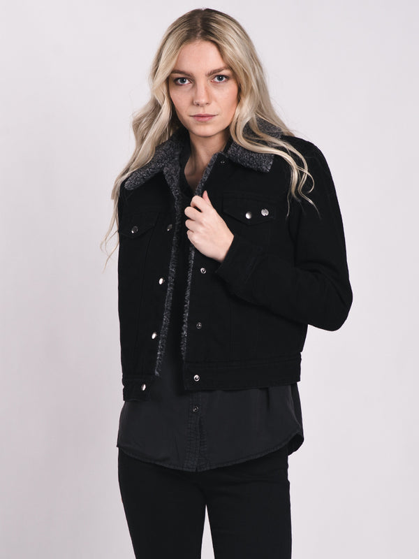 WOMENS CHRIS DENIM SHEARLING JACKET
