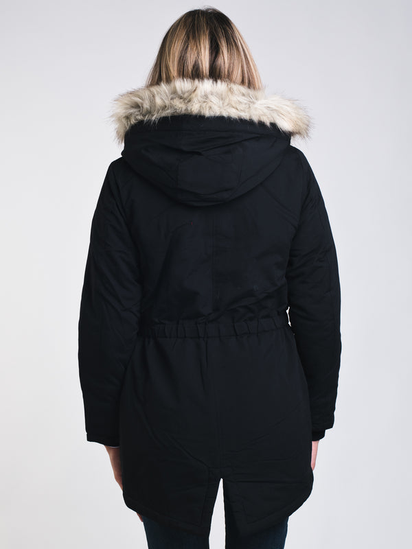 WOMENS STAR PARKA - BLACK