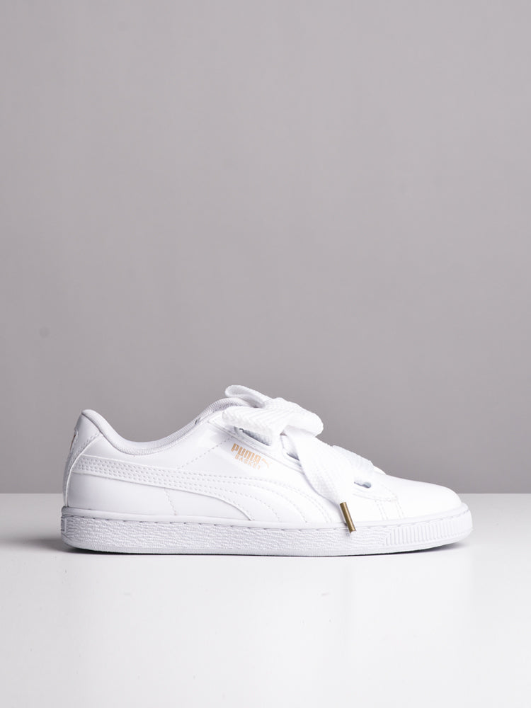 4283d6bd1162 WOMENS BASKET HEART PATENT WHITE SNEAKERS- CLEARANCE