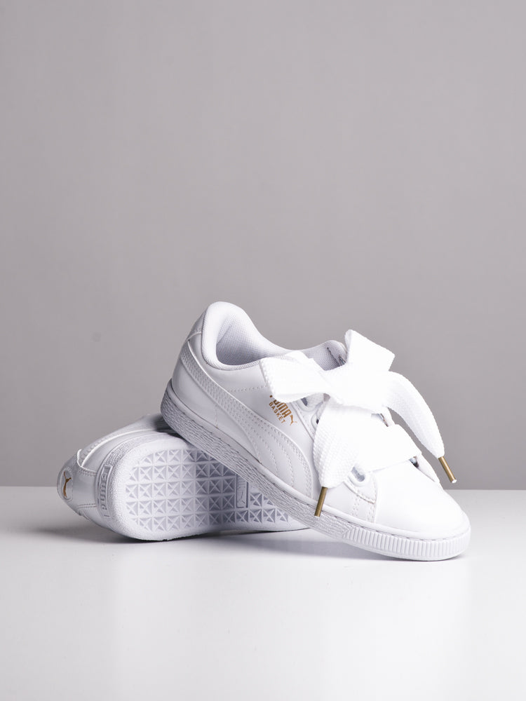 the best attitude 5a4e3 15876 WOMENS BASKET HEART PATENT WHITE SNEAKERS- CLEARANCE