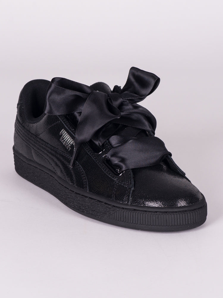 b9a8151e WOMENS BASKET HEART NS - PUMA BLACK - CLEARANCE