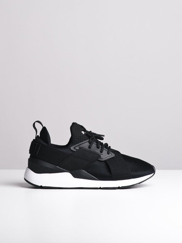 WOMENS MUSE SATIN EP BLACK/WHITE SNEAKERS- CLEARANCE
