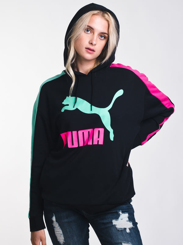 WOMENS CLASSIC LOGO T7 HOODIE - BLK