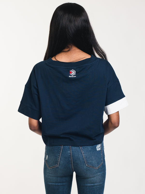 WOMENS AC CROP TEE - NAVY