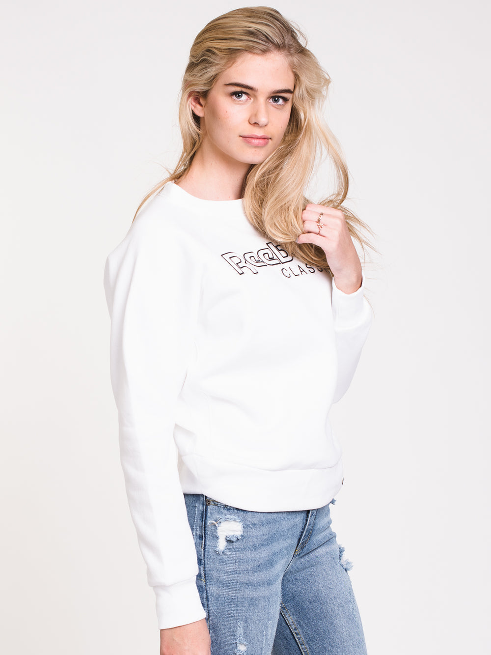 WOMENS CLASSIC BIG LOGO EMBROIDERED CREW