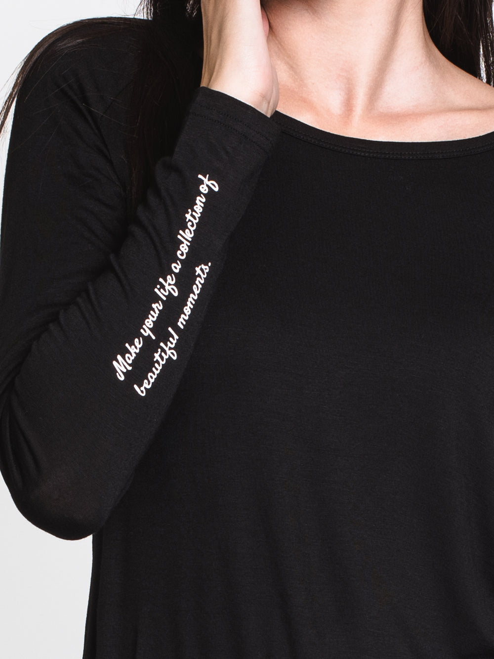 WOMENS BEAUTIFUL MOMENTS LONG SLEEVE TEE-BLK