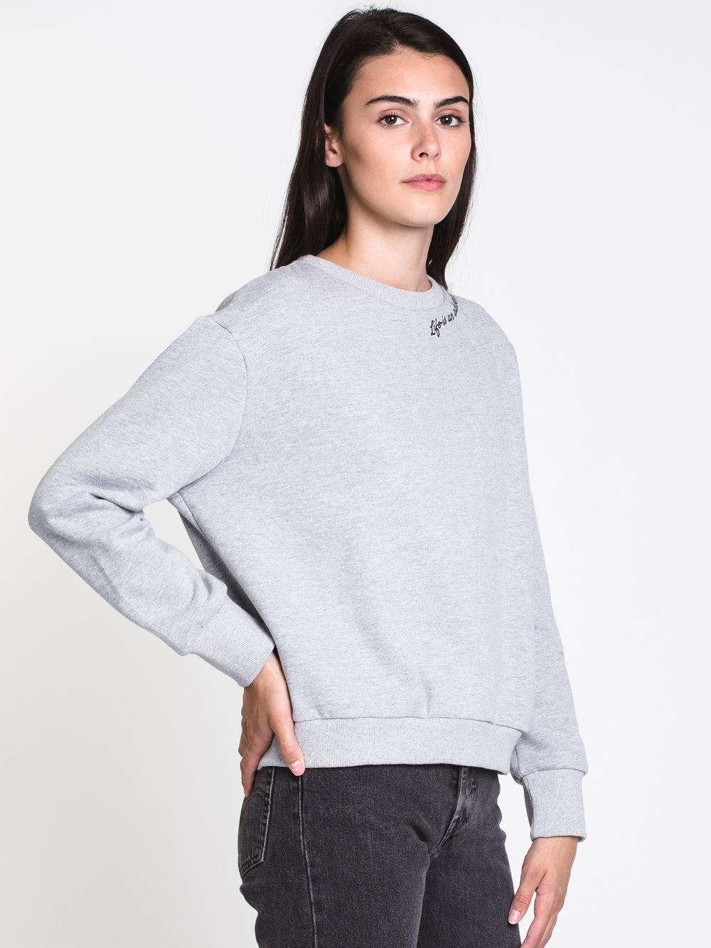 WOMENS LIFE IS CREW - HTHR GREY