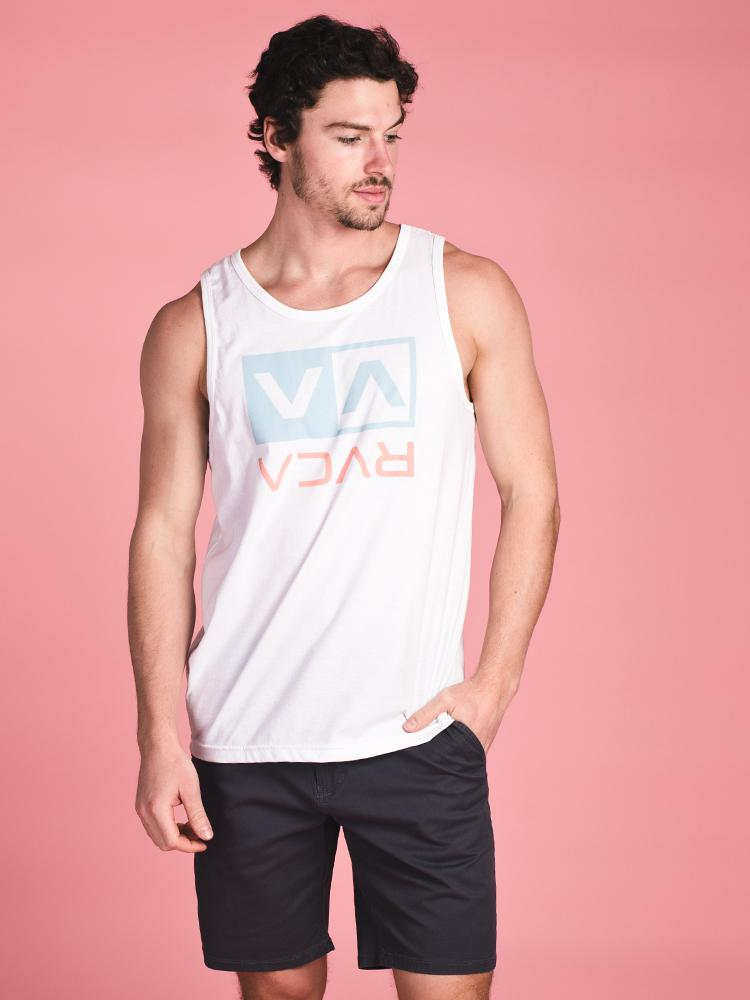 MENS FLIP BOX TANK - WHITE- CLEARANCE