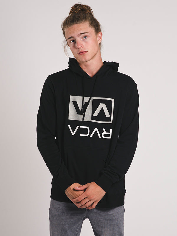 MENS FLIPPED BOX EMBROIDERED PULLOVER - BLACK - CLEARANCE