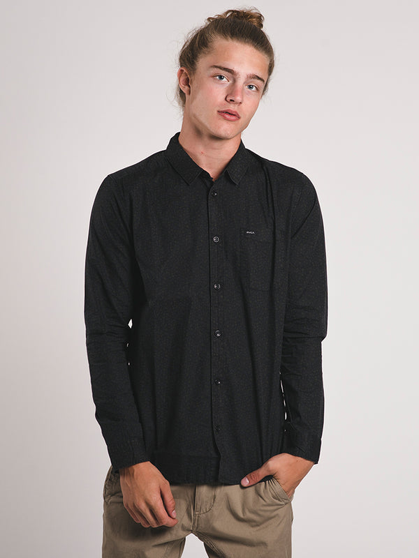 MENS CLUSTER LONG SLEEVE WOVEN - BLACK - CLEARANCE