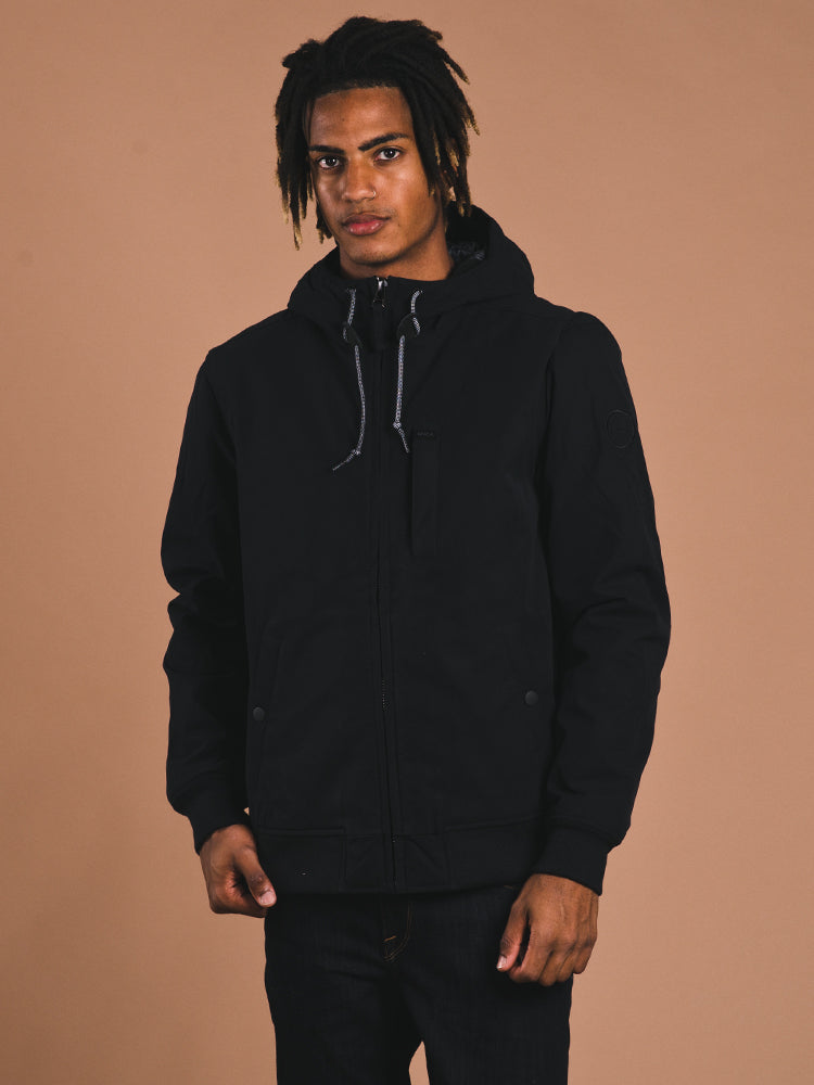 MENS HOODIE BOMBER JACKET - BLACK - CLEARANCE