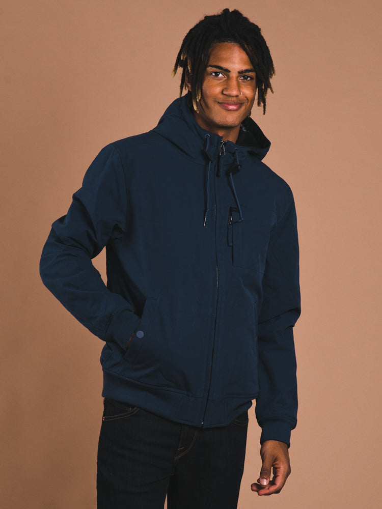 Mens Hoodie Bomber Jacket Blue Clearance