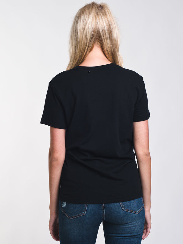 WOMENS BIG RVCA SHORT SLEEVE T-SHIRTEE - BLACK