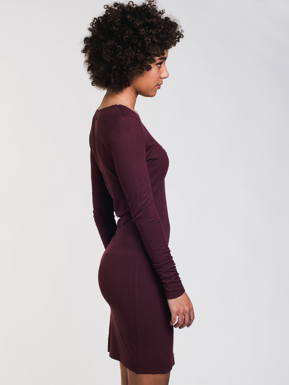 WOMENS KNOT UP DRESS - BURGUNDY - CLEARANCE