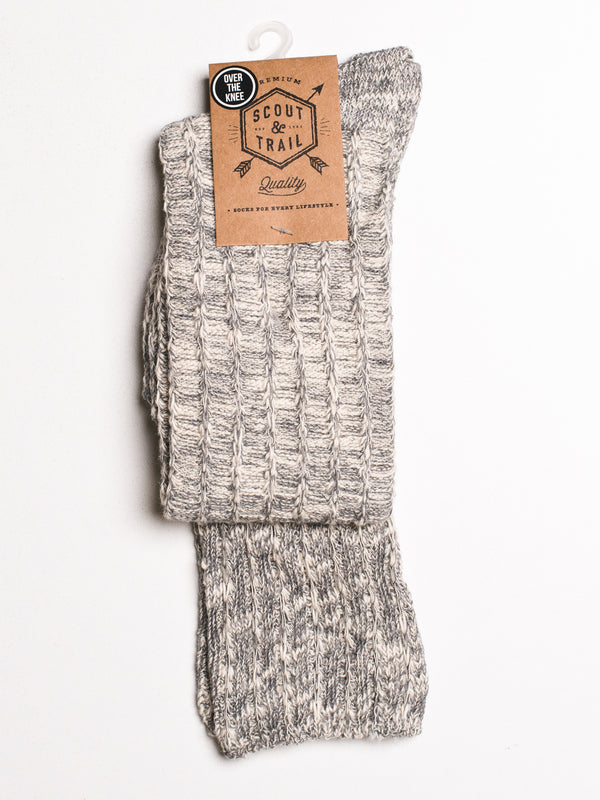CABLEKNIT OTK - GREY SOCKS - CLEARANCE