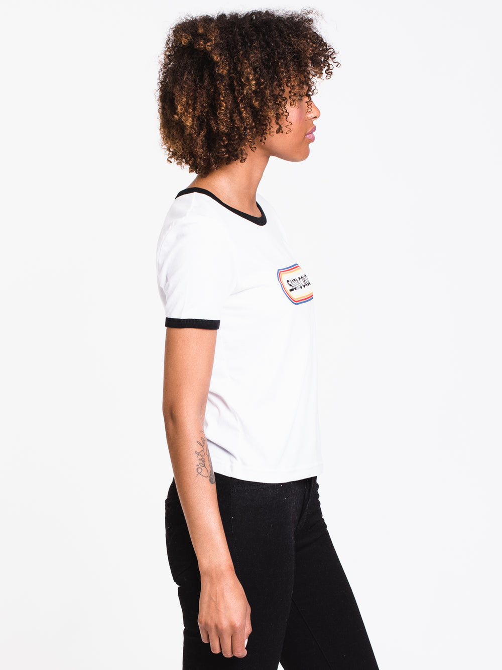 WOMENS WOODSTOCK SHORT SLEEVE RINGER TEE - W/B