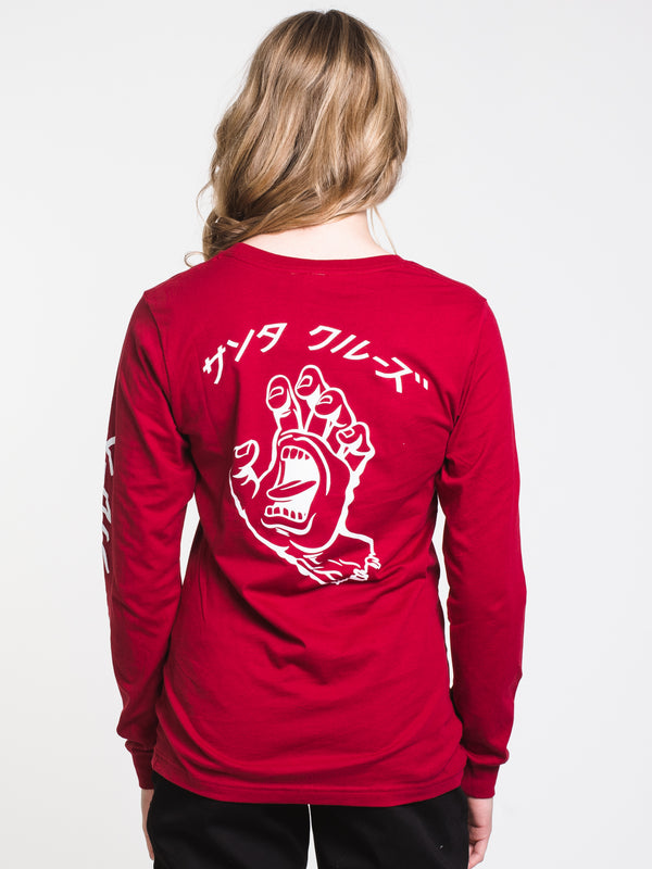 WOMENS HANDO LONG SLEEVE BF TEE - CARDINAL