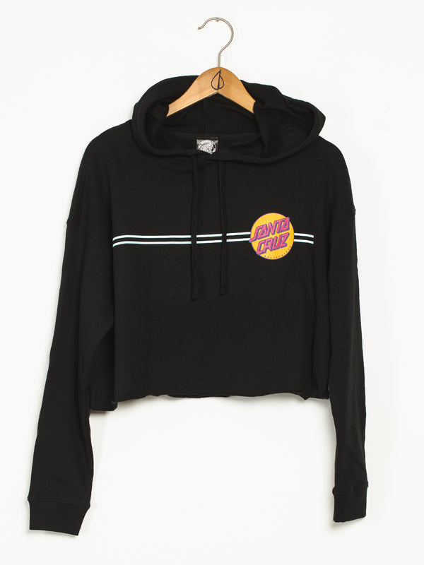 WOMENS OTHER DOT PULLOVER CROP HOODIE - BLACK