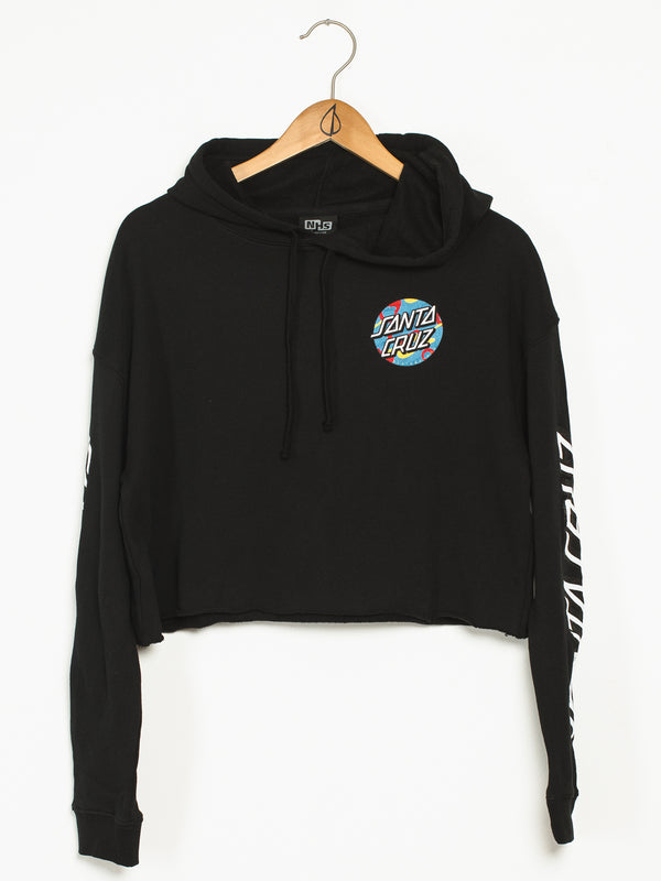 WOMENS PRIMARY DOT CROP PULLOVER HOODIE - BLK