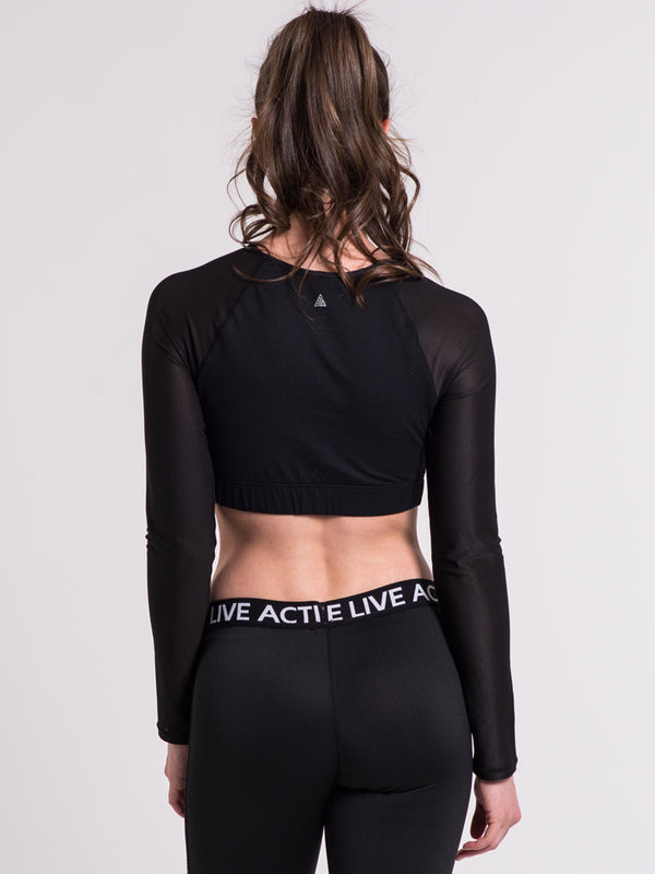 WOMENS CROP MESH SLV TOP  - CLEARANCE