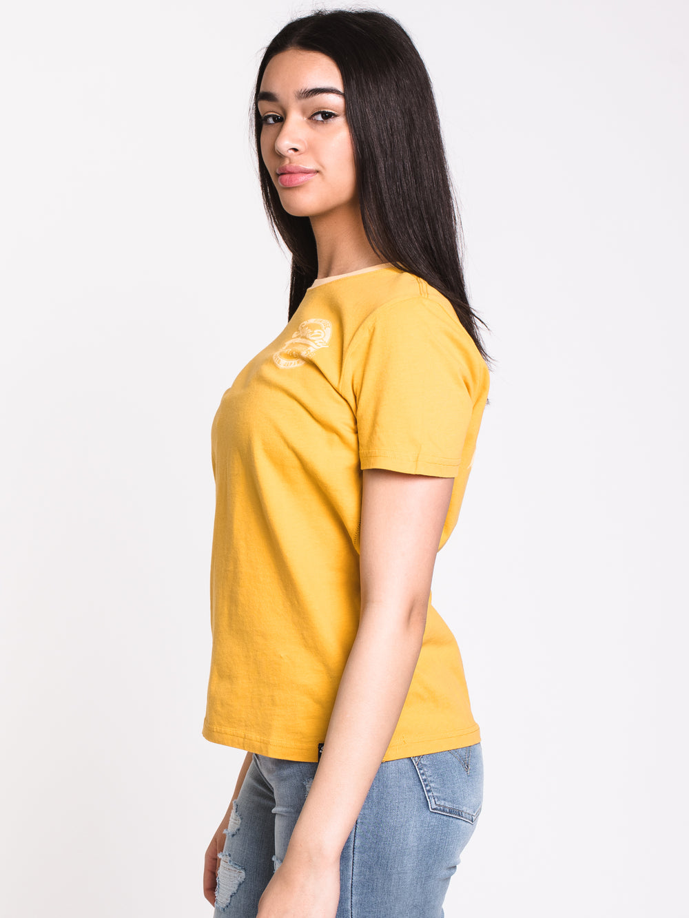WOMENS VINTAGE LOGO SHORT SLEEVE T-SHIRT - OCHRE - CLEARANCE