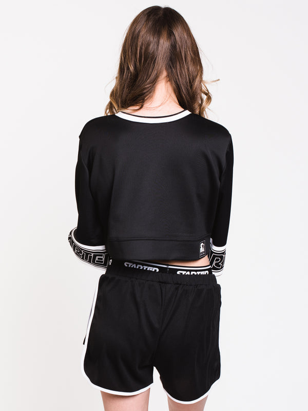 WOMENS CROPPED BELL SLV CREW - BLACK