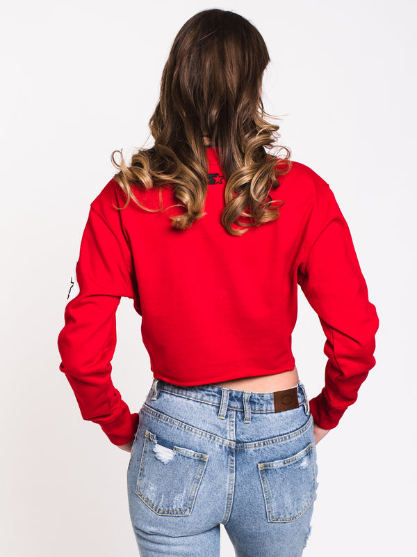 WOMENS RAW EDGE SWEATSHIRT - RED