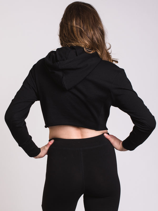 WOMENS RAW EDGE Pullover HOODIE - BLACK