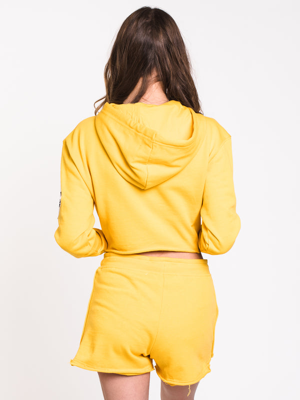 WOMENS RAW EDGE Pullover HOODIE - YELLOW