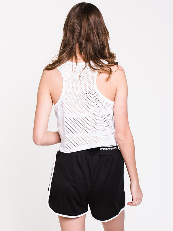 WOMENS CROPPED MESH TANK - WHITE