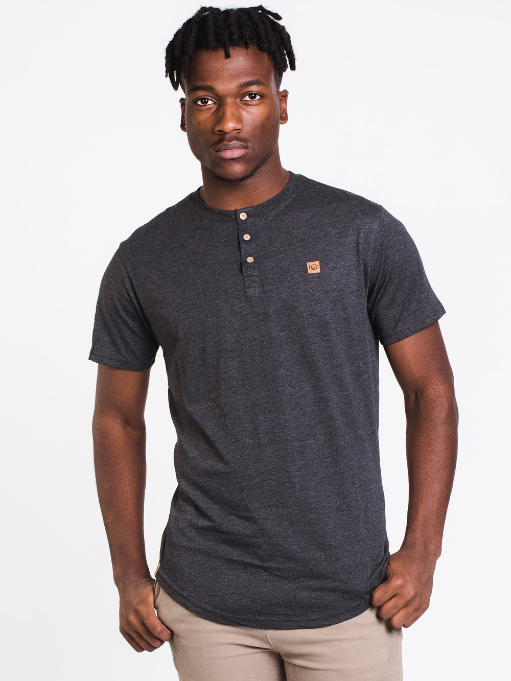 MENS STANDARD SHORT SLEEVE HENLEY - BLACK