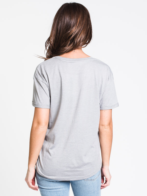 WOMENS DROP SHLDR JUNIPER SHORT SLEEVE TEE-GRY