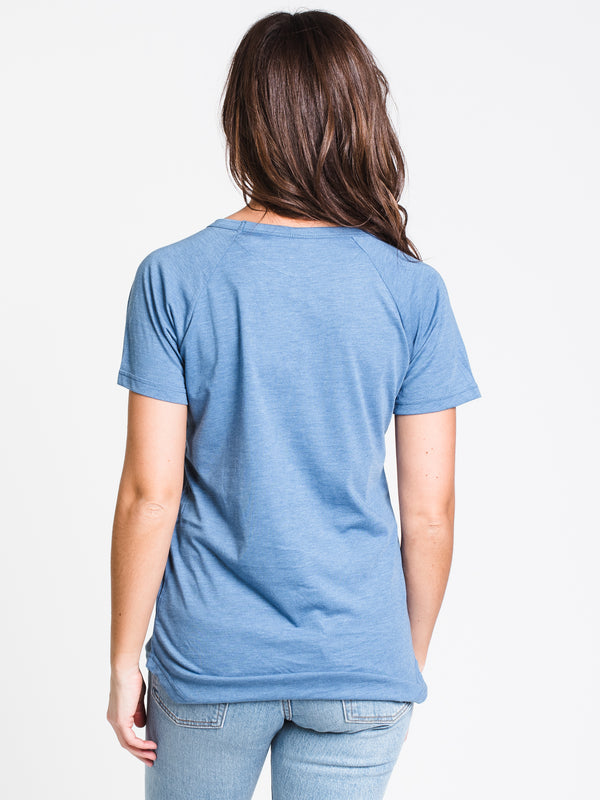 WOMENS RAISED RUBBER TEN SHORT SLEEVE TEE-BLU