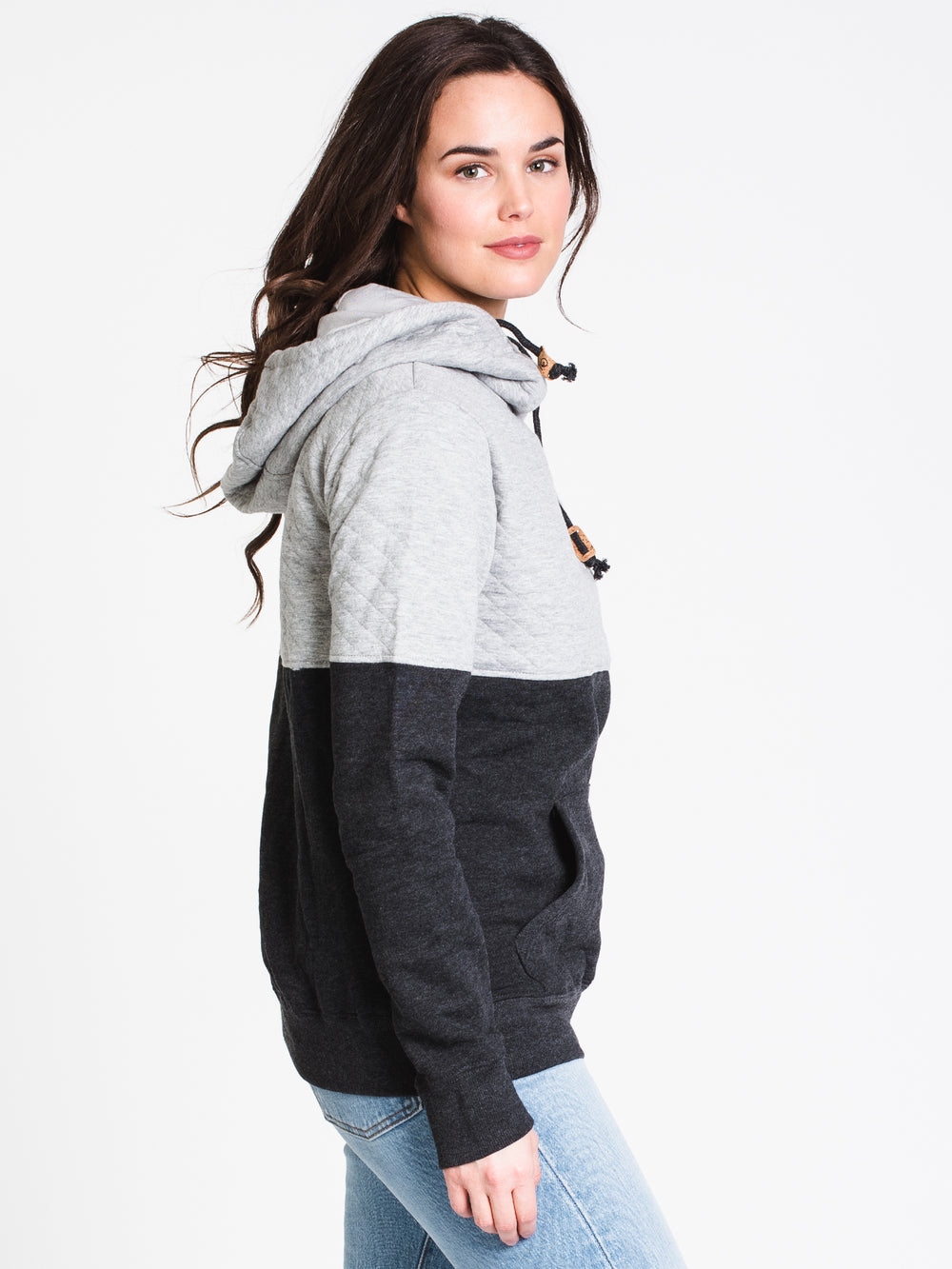 WOMENS BALSA QUILT PULLOVER HOODIE- BLK/GRY