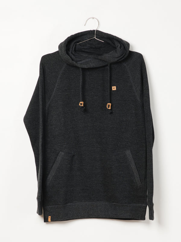 WOMENS BURNEY CORK PTCH PULL OVER HD - BLK