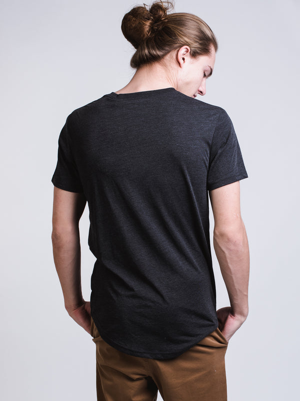MENS LONG SHORT SLEEVE HENLEY T - BLACK